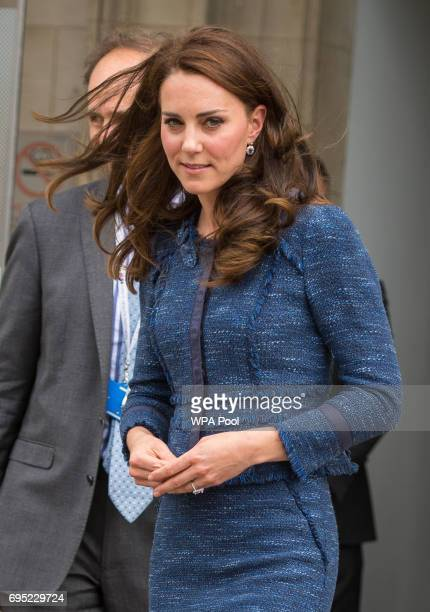The Duchess of Cambridge leaves following a visit to Kings College Hospital in south London where she met staff and patients who were affected by the...