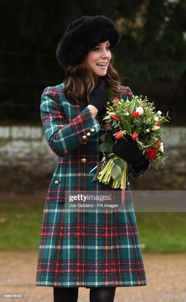 The Duchess of Cambridge leaves the Christmas Day morning church service at St Mary Magdalene Church in Sandringham, Norfolk.