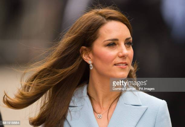 The Duchess of Cambridge leaves the Grand Ducal Palace during a day of visits in Luxembourg where she is attending commemorations marking the 150th...