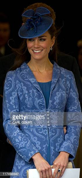 The Duchess of Cambridge leaves with other members of the royal family after a Church Service to mark Prince Philip's 90th birthday in Windsor, west...