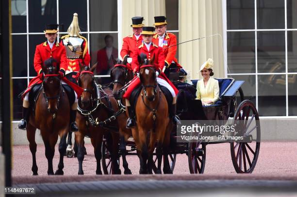 The Duchess of Cambridge leaving Buckingham Palace to Horse Guards Parade, in London, ahead of the Trooping the Colour ceremony, as The Queen...