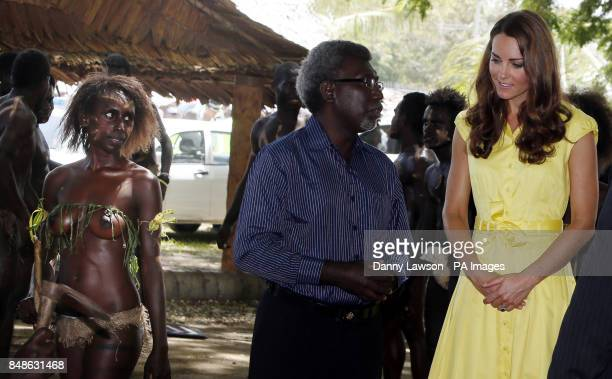 CONTENT The Duchess of Cambridge meets locals during a visit to the Cultural Village in the Solomon Islands during the nineday royal tour of the Far...