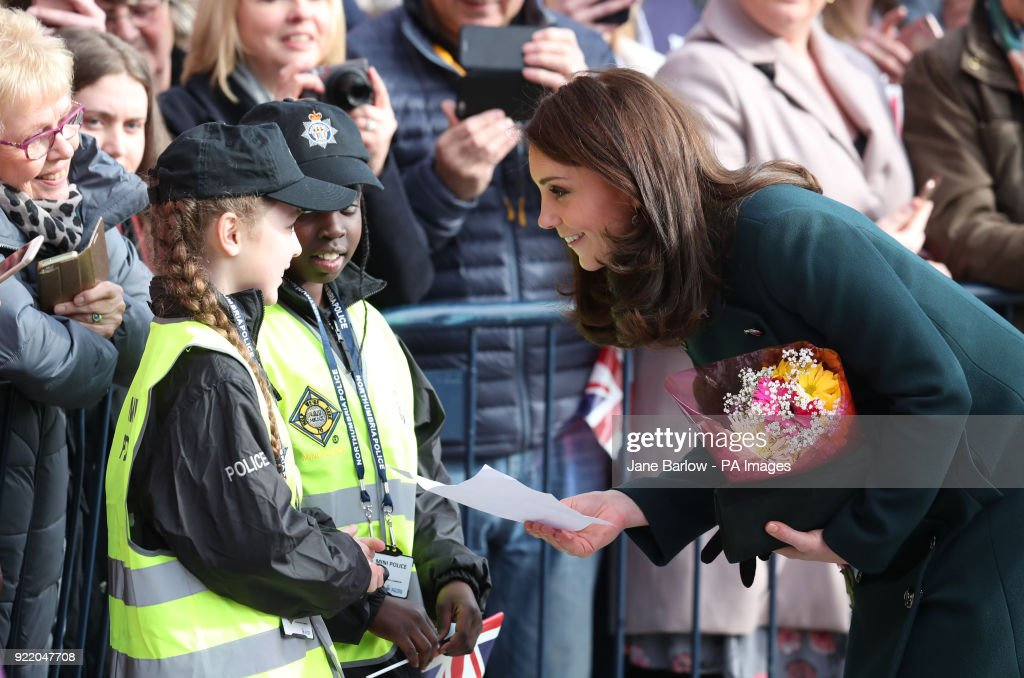 The Duchess of Cambridge meets members of Northumbria Mini Police, a scheme that gives primary school children the opportunity to work with their local police officers, as she arrives at the Fire Station arts centre in Sunderland.