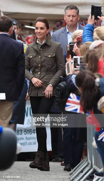 The Duchess of Cambridge on a walkabout in Keswick town centre during a visit to Cumbria