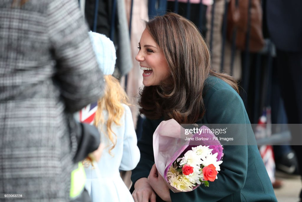 The Duchess of Cambridge speaks to members of the crowd as she arrives at the Fire Station arts centre in Sunderland.