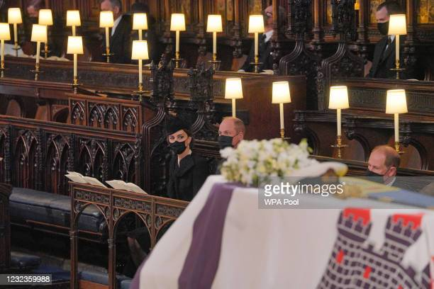 The Duchess of Cambridge, the Duke of Cambridge and Earl of Wessex attend the funeral of Prince Philip, Duke of Edinburgh, at St George's Chapel at...
