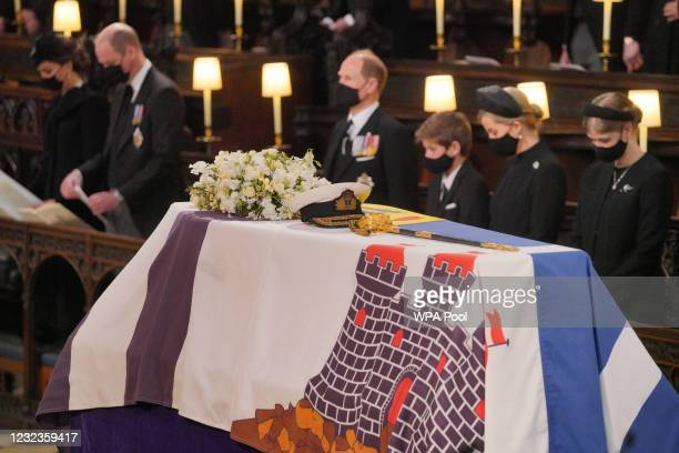 The Duchess of Cambridge, the Duke of Cambridge, the Earl of Wessex, Viscount Severn, Lady Louise Mountbatten-Windsor, and the Countess of Wessex...