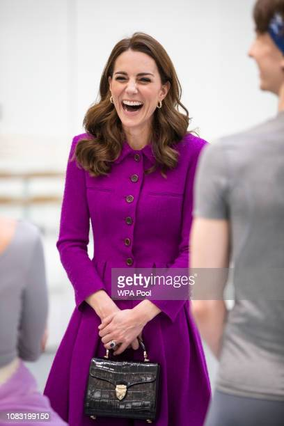 The Duchess of Cambridge visits The Royal Opera House on January 16, 2019 in London, England to learn more about their use of textiles, commissioning...