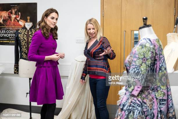 The Duchess of Cambridge visits The Royal Opera House on January 16 2019 in London England to learn more about their use of textiles commissioning of...