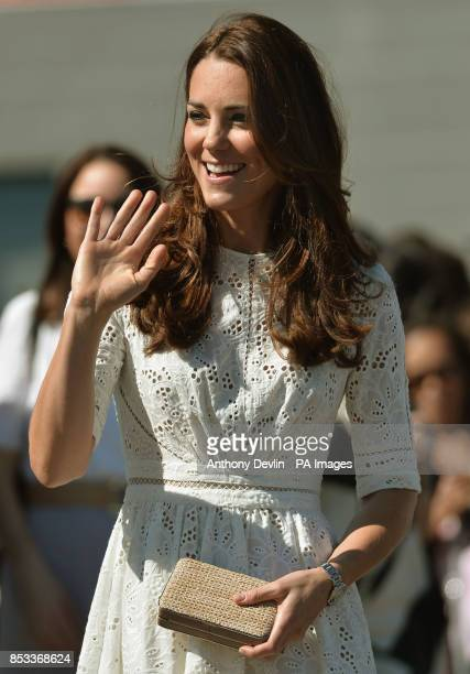 The Duchess of Cambridge waves as the Duke and Duchess of Cambridge visit the Royal Easter Show at Sydney Olympic Park during the twelfth day of...