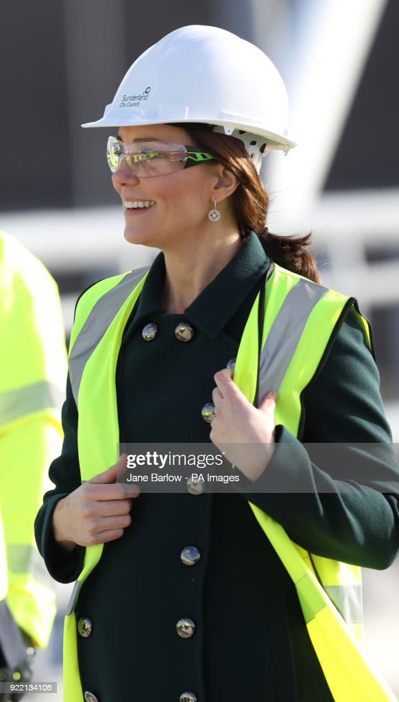 The Duchess of Cambridge wears a safety helmet and high visibility vest during a visit to the Northern Spire bridge across the River Wear in Sunderland.