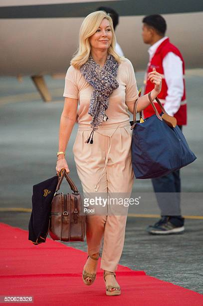 The Duchess of Cambridge's Hairdresser Amanda Cook Tucker arrives at Tezpur Airport on April 12 2016 in Assam India The Duke and Duchess of Cambridge...