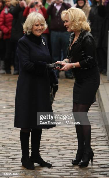 The Duchess of Cornwall accompanied by actress Beverley Callard during her visit to the set of Coronation Street in Manchester