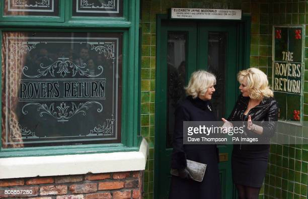The Duchess of Cornwall accompanied by actress Beverley Callard outside the Rovers Return during her visit to the set of Coronation Street in...