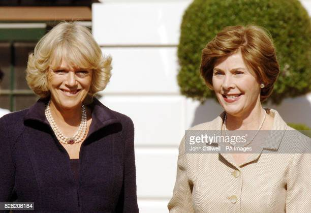 The Duchess of Cornwall and Laura Bush on the South lawn of the White House in Washington DC Wednesday November 2 2005 The Prince of Wales and the...