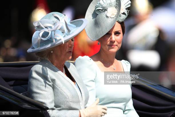 The Duchess of Cornwall and the Duchess of Cambridge leave Buckingham Palace, central London on their way to Horse Guards Parade, ahead of the...