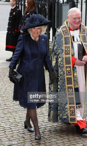 The Duchess of Cornwall arrives at the Commonwealth Service at Westminster Abbey, London on Commonwealth Day. The service is the Duke and Duchess of...