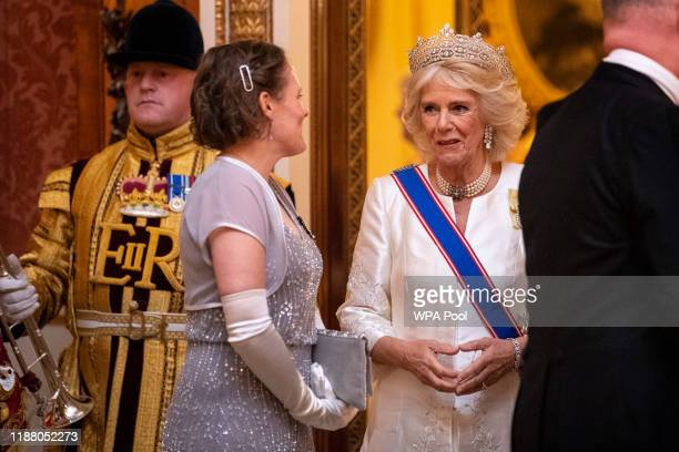 The Duchess of Cornwall at an evening reception for members of the Diplomatic Corps at Buckingham Palace on December 11 2019 in London England