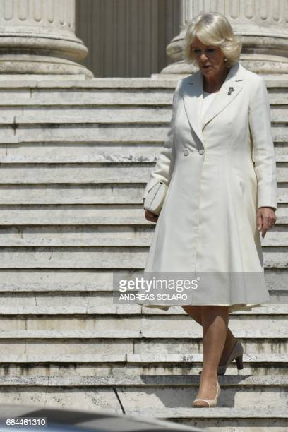 The Duchess of Cornwall, Camilla, leaves after a visit to the British School of Rome on April 4, 2017.