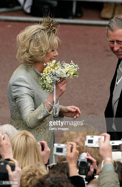The Duchess Of Cornwall Camilla Parker Bowles and her husband HRH Prince Charles meet the crowd following the Service of Prayer and Dedication after...