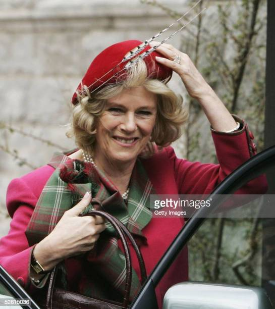 The Duchess Of Cornwall, Camilla Parker Bowles attends Sunday church service on the first day of their honeymoon, at Crathie Church, Balmoral on...