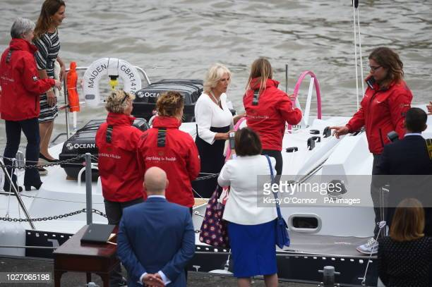 The Duchess of Cornwall during a visit at HMS President in London to see the yacht 'Maiden' used by the first allfemale crew and skippered by Tracy...