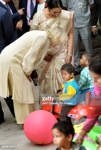 The Duchess of Cornwall enjoys viewing the grounds of the Akshardham Temple in Delhi the capital of India on the third day of their eleven day tour...