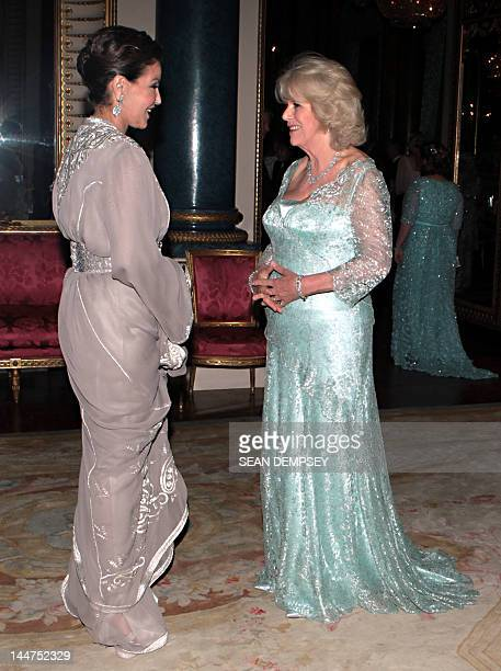 The Duchess of Cornwall greets Princess Lalla Meryem of Morocco before a dinner for foreign sovereigns to commemorate the Diamond Jubilee at...