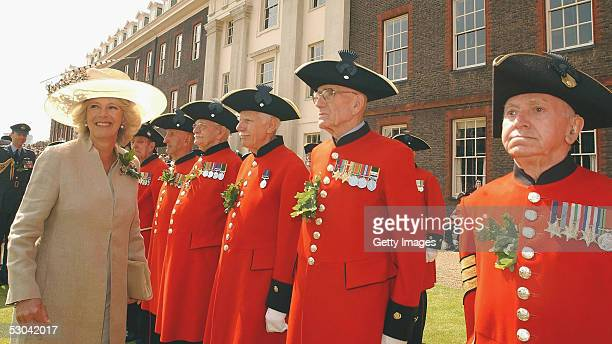 The Duchess of Cornwall in bouyant mood as she attends the annual Founders Day Parade at the Royal Hospital Chelsea on June 9, 2005 in London,...