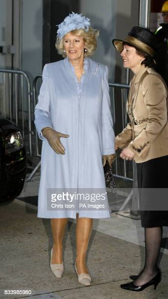 The Duchess of Cornwall is greeted on her arrival at Southampton Docks by Carol Marlow president and managing director of Cunard Line where she will...