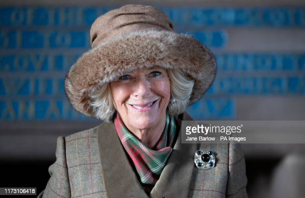 The Duchess of Cornwall, known as the Duchess of Rothesay while in Scotland, during a visit to Dunnottar Castle, the cliff top fortress which was...