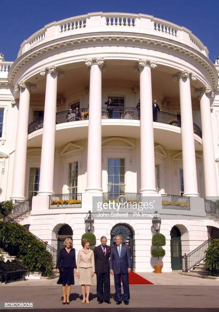 The Duchess of Cornwall Laura Bush the Prince of Wales and President George W Bush on the South lawn of the White House in Washington DC Wednesday...