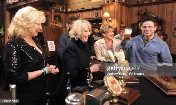 The Duchess of Cornwall meets actors Beverley Callard who plays landlady Liz McDonald Anne Kirkbride who plays the role of Deirdre Barlow and Ryan...