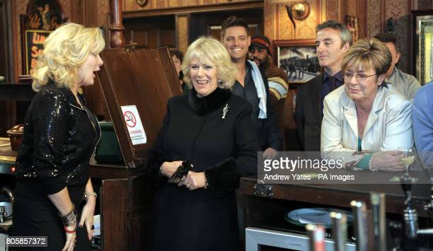 The Duchess of Cornwall meets actresses Beverley Callard who plays landlady Liz McDonald and Anne Kirkbride who plays the role of Deirdre Barlow...