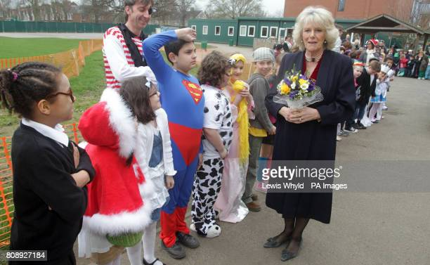The Duchess of Cornwall meets children in fancy dress to mark the launch of the Wimbledon Bookfest Young Writers' Competition and mark World Book Day...