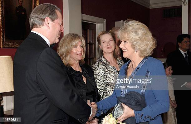 HRH The Duchess of Cornwall meets former US Vice President Al Gore his wife Tipper and actress Meryl Streep at the Harvard Club where the Prince will...