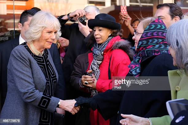The Duchess of Cornwall meets well wishers as she leaves the Shakespeare Theatre Companyat Sidney Harman Hall on March 18 2015 in Washington DC The...