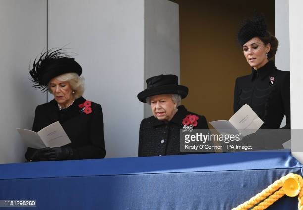The Duchess of Cornwall Queen Elizabeth II and the Duchess of Cambridge during the Remembrance Sunday service at the Cenotaph memorial in Whitehall...