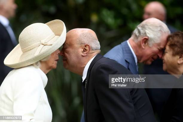 The Duchess of Cornwall shares a traditional maori greeting of a hongi with Professor Piri Sciascia at Government House on November 19, 2019 in...