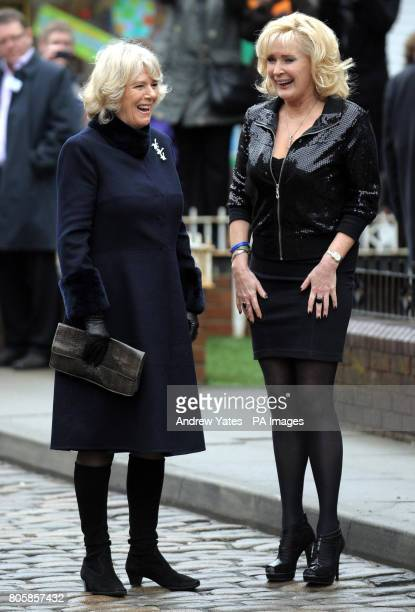 The Duchess of Cornwall speaks with actress Beverley Callard who plays landlady Liz McDonald of the Rovers Return Pub during a visit to the the...
