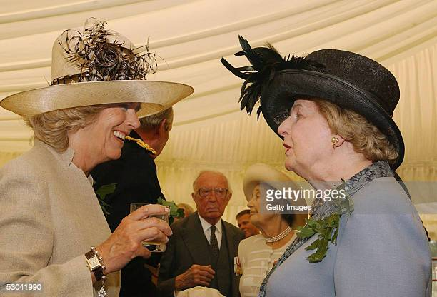 The Duchess of Cornwall talks to Baroness Thatcher at the annual Founders Day Parade at the Royal Hospital Chelsea on June 9, 2005 in London,...