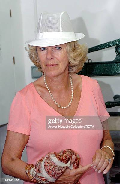 HRH The Duchess of Cornwall talks to cheesemakers during a visit to Gorwydd Farm near Llanddewi Brefi on Wednesday July 13 2005 On the second day of...