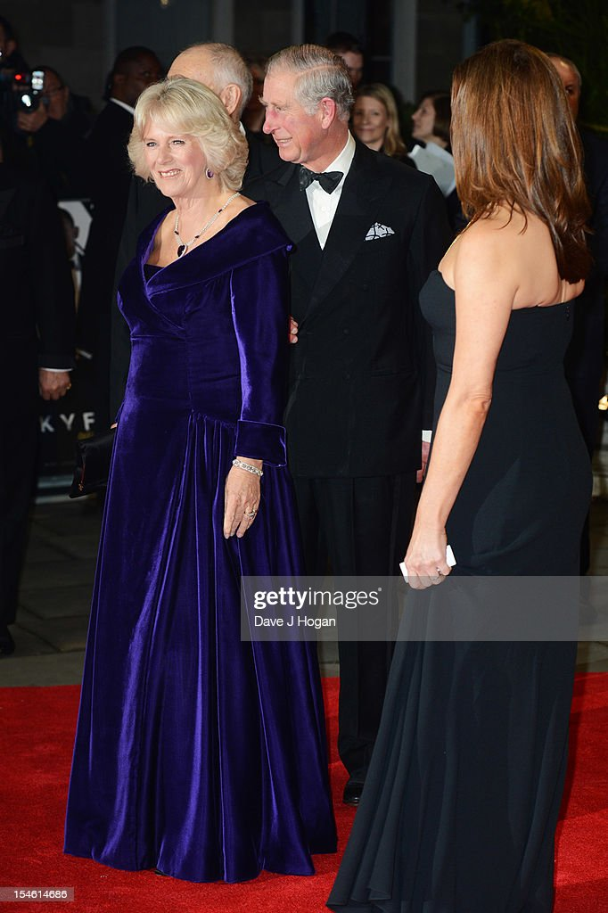 The Duchess of Cornwall, The Prince of Wales and Barbara Broccoli attend the Royal world premiere of 'Skyfall' at The Royal Albert Hall on October 23, 2012 in London, England.