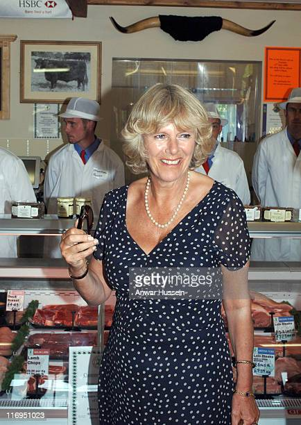 HRH The Duchess of Cornwall visits a farm shop at Crosshands Business Park Carmarthenshire on July 12 2005 in Carmarthenshire Scotland The Royal...