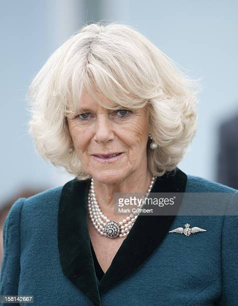 The Duchess Of Cornwall Visits The Medway Aircraft Preservation Society And Watches A Flypast Of A Spifire Over Rochester Airfield Chatham Kent
