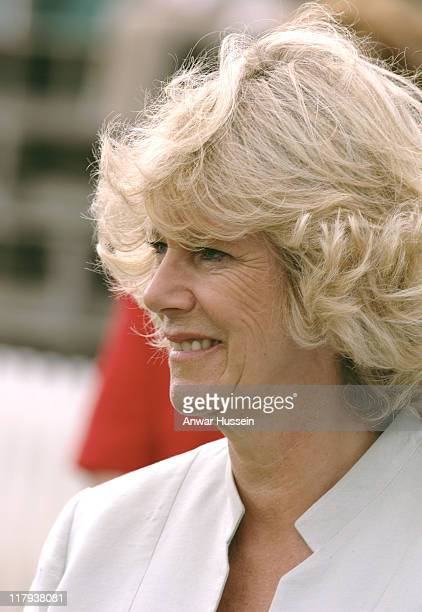The Duchess of Cornwall watches the Burberry Cup at Cirencester Park Polo Club on June 17 2005 in Gloucestershire England