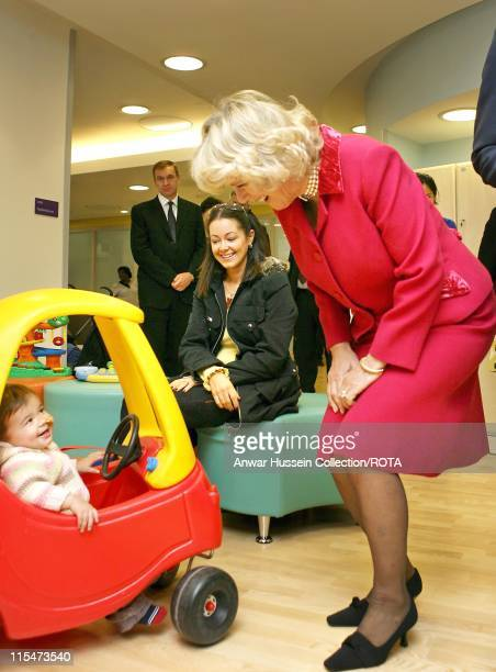 TRH The Duchess of Cornwall with 17 month old patient Tess Mcgregor in the play area at Great Ormond Street Hospital for Children in London November...