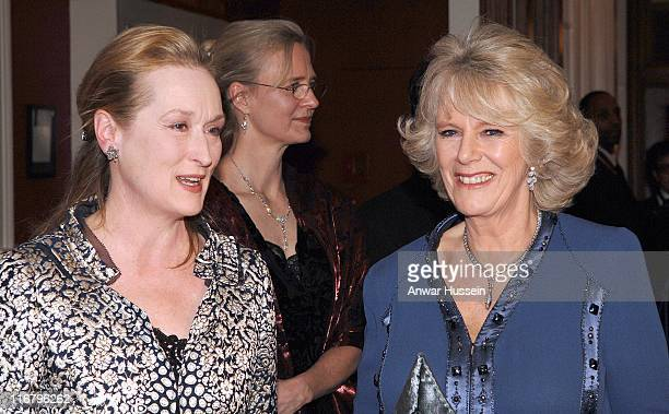HRH The Duchess of Cornwall with actress Meryl Streep at the Harvard Club where HRH The Prince of Wales will receive the Global Environmental Citizen...