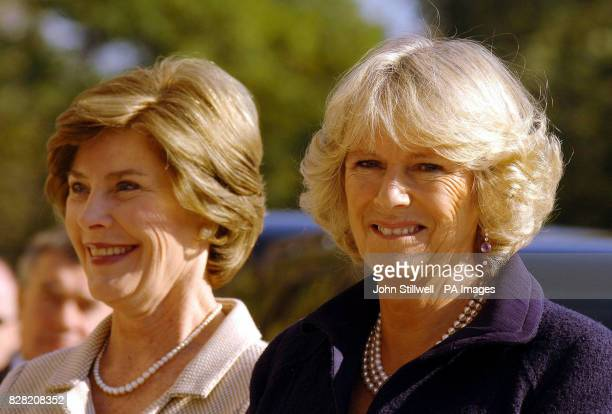 The Duchess of Cornwall with First Lady Laura Bush touring the Seed School on the outskirts of Washington DC Wednesday November 2 2005 The Prince and...