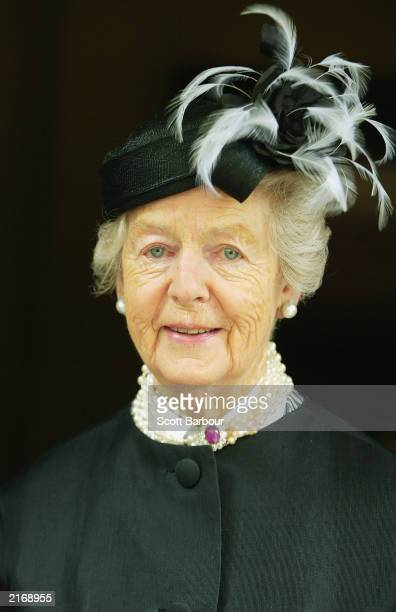 The Duchess of Devonshire poses for photographers as she arrives at the Service of Thanksgiving to Celebrate the Life and Work of Sir Hardy Amies...